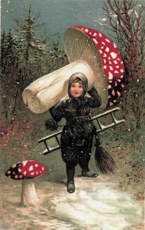 Le miracle du champignon dans la forêt hivernale. Un ramoneur récolte le champignon porte-bonheur pour la Saint Sylvestre et la Nouvelle Année. (Carte postale, 1900)