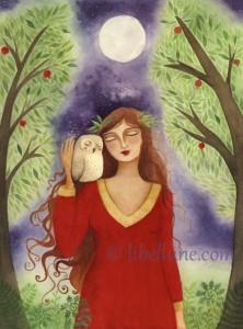 la lune-et-dame-à-la-chouette