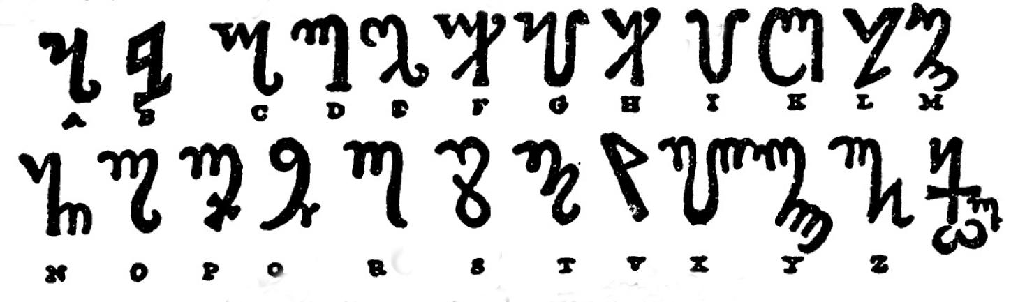 """Alphabet d'Honorius, dit alphabet thébain. Extrait du livre : """"The Magus"""", par Francis Barrett."""